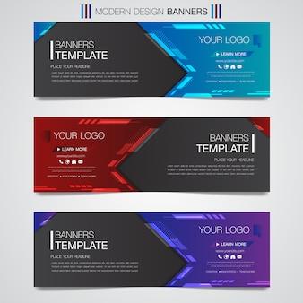 Formas geométricas de banner horizontal negócios abstratos design web conjunto modelo fundo