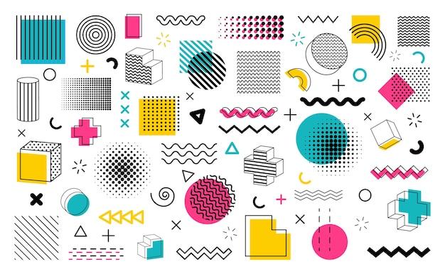 Formas geométricas de coleção no estilo memphis. Vetor Premium
