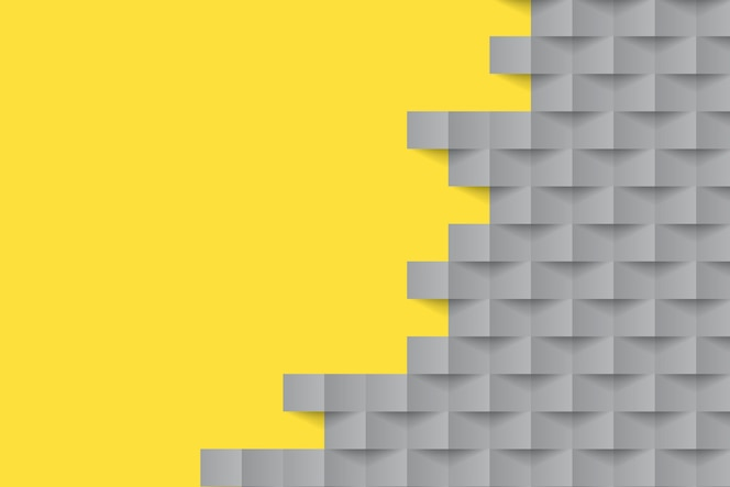 Formas geométricas de fundo em estilo de papel amarelo e cinza