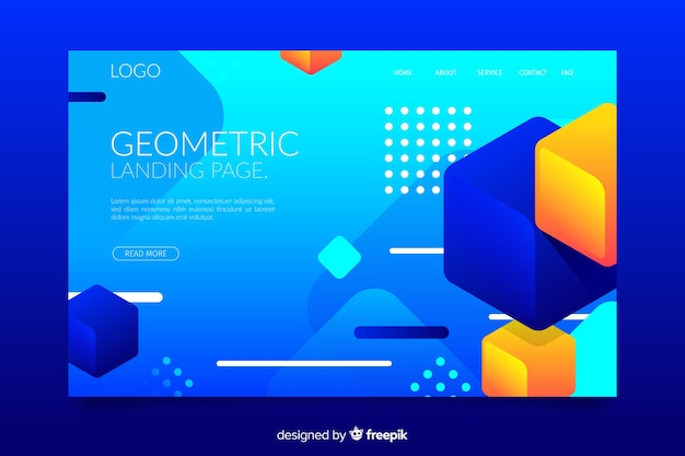 Formas geométricas de gradiente, página inicial em estilo memphis