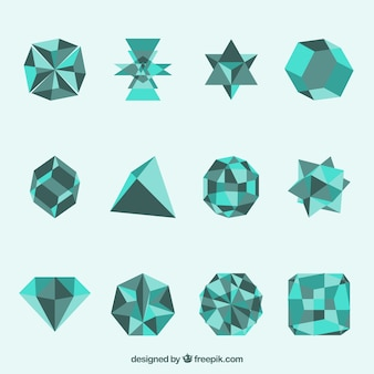 Formas geométricas em cor turquesa