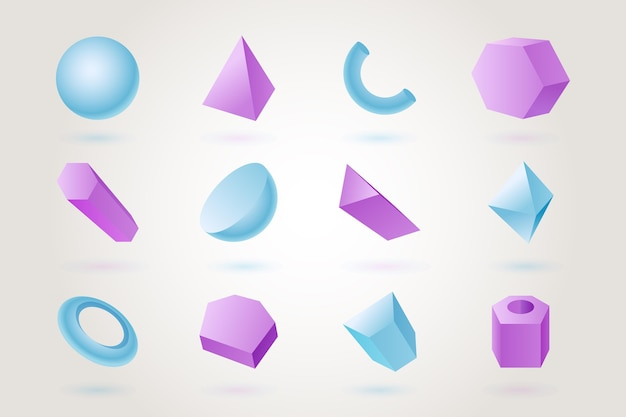 Formas geométricas em efeito 3d