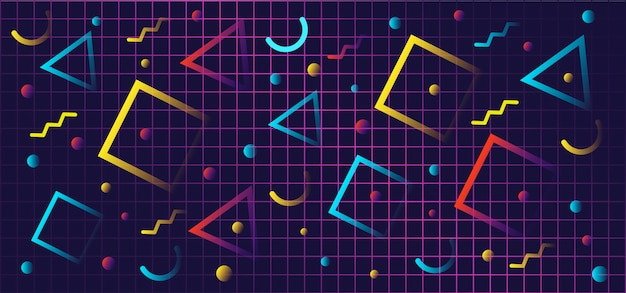 Formas geométricas gradientes em estilo retro