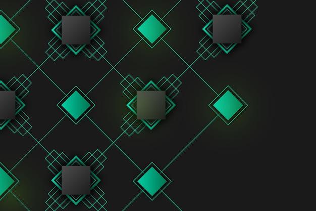 Formas geométricas gradientes no conceito de papel de parede escuro