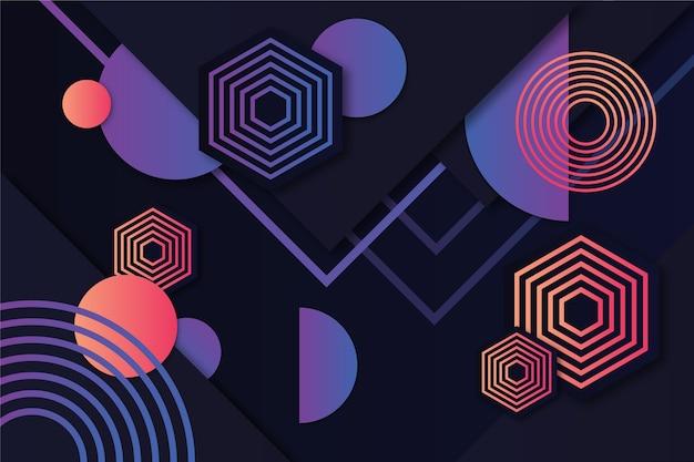Formas geométricas gradientes no tema de fundo escuro
