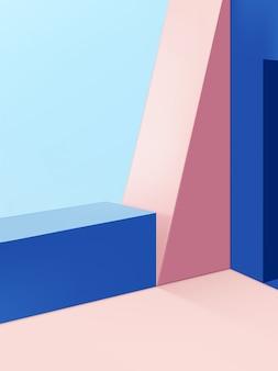 Formas geométricas mínimas studio shot background, rosa e azul