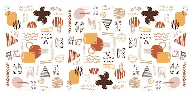 Formas geométricas modernas, texturas, traços, elementos de decoração abstratos e florais