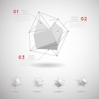 Formas geométricas poligonais de baixo poli. elemento de cristal abstrato de design 3d
