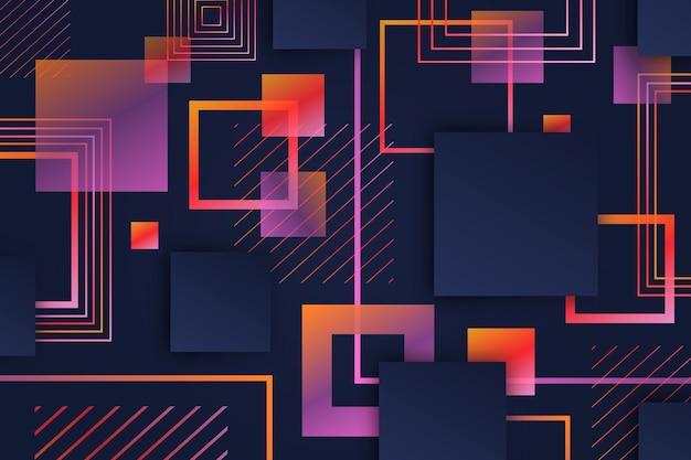 Formas geométricas quadradas gradientes em fundo escuro