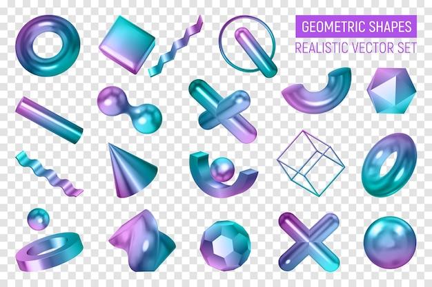 Formas geométricas realistas com cores transparentes definidas com corpos geométricos 3d isolados pintados em tons de gradiente