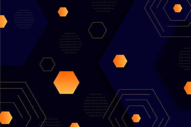 Formas gradientes laranja em fundo escuro