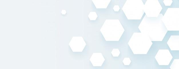 Formas hexagonais vazias banner abstrato design amplo