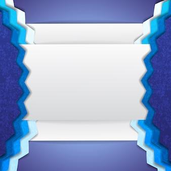 Formas incompreensíveis de fundo abstrato azul e branco com cantos e partes convexas