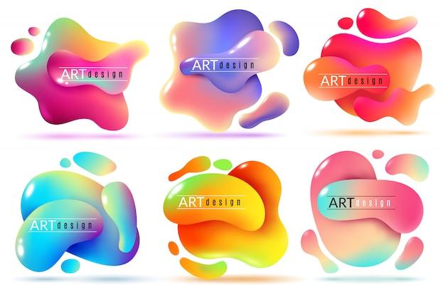 Formas líquidas abstraem elementos de fluxo de cor formas de tinta textura gráfica moderna adesivos criativos