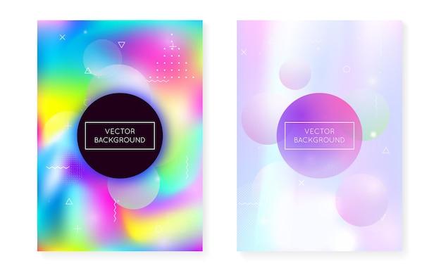 Formas líquidas cobrem com fluido dinâmico. gradiente bauhaus holográfico com fundo de memphis. modelo gráfico para folheto, interface do usuário, revista, cartaz, banner e app. cobertura de formas líquidas fluorescentes.