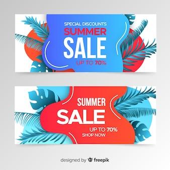 Formas líquidas de venda de verão e banner de folhas tropicais