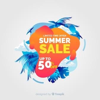 Formas líquidas de venda de verão e fundo de folhas tropicais