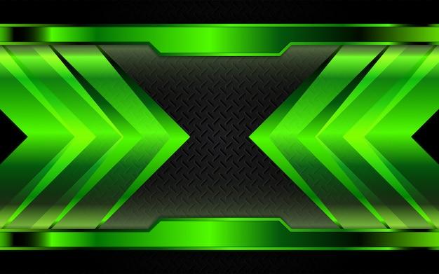 Formas metálicas verdes abstratas em fundo escuro
