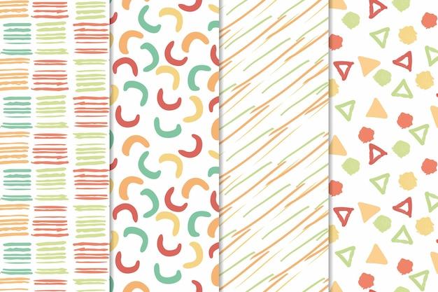 Formas minimalistas abstraem padrão desenhado de mão