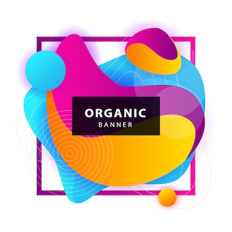 Formas orgânicas abstratas amarelas, azuis, roxas com moldura