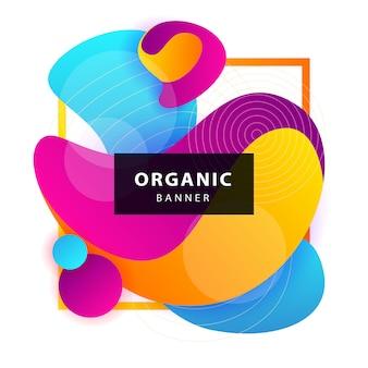 Formas orgânicas abstratas azuis, rosa e amarelas com moldura