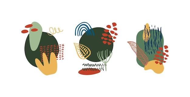 Formas orgânicas abstratas; elementos minimalistas linha desenhada à mão. conjunto de design abstrato moderno