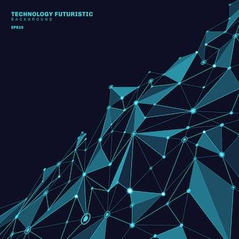 Formas poligonais abstratas fundo azul perspectiva