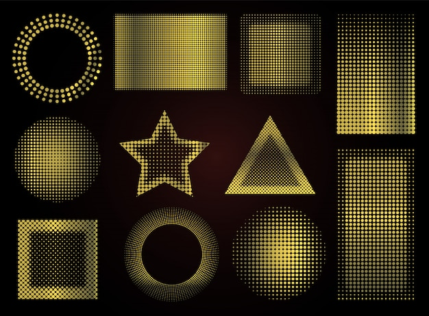 Formas pontilhadas douradas