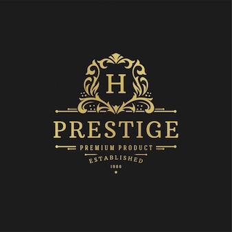 Formas reais luxuosas do ornamento das vinhetas do victorian da ilustração do vetor do molde do projeto do logotipo para o projeto do logotype ou da etiqueta.
