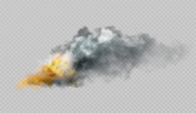 Formas realistas de fumaça e fogo em um fundo.