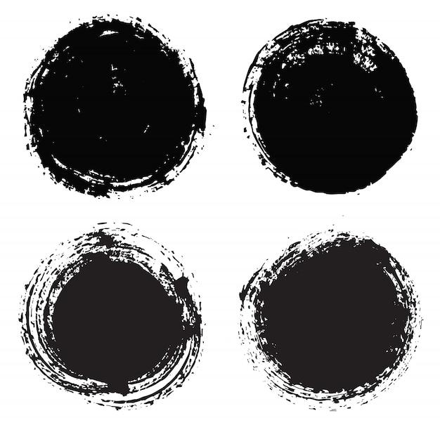 Formas redondas do grunge preto