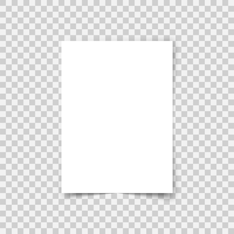 Formato a4 de folha de papel de vetor com sombras. página de papel em branco realista branca. mock up folheto de design ou modelo de banner em fundo transparente.
