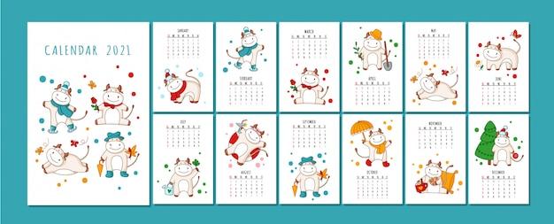 Formato de calendário ou planejador de boi branco, boi dos desenhos animados, touro ou vaca, símbolo do ano novo