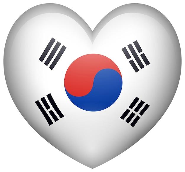Formato de coração com bandeira coreana