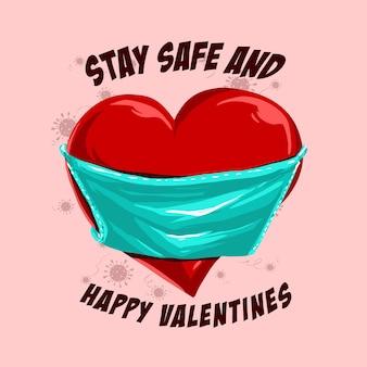 Formato de coração com ilustração de máscara médica para comemorar o dia dos namorados