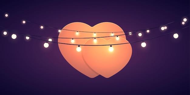 Formato de coração com luzes no escuro