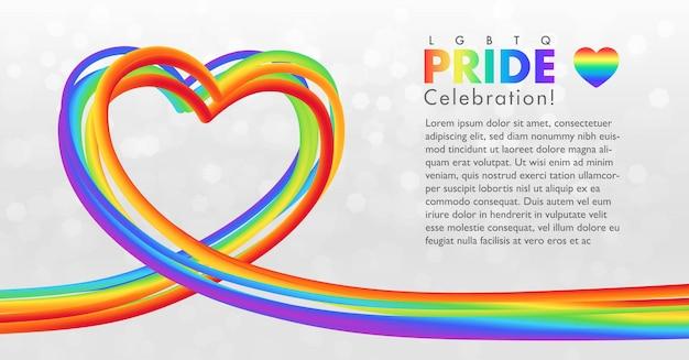 Formato de coração de arco-íris colorido para celebração do orgulho lgbtq