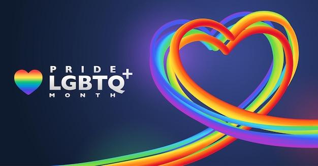 Formato de coração de arco-íris colorido para o mês do orgulho lgbtq