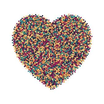 Formato de coração de confetes heterogêneos coloridos dispersos em fundo branco