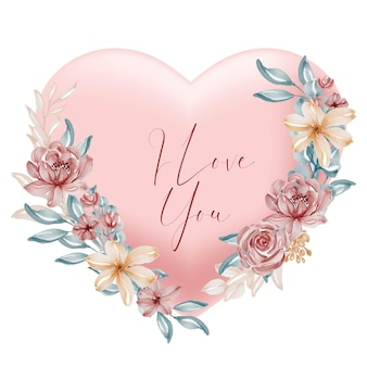 Formato de coração de pêssego dos namorados, eu te amo, palavras com flores e folhas em aquarela
