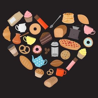 Formato de coração feito de elementos de café e chá de produtos de panificação
