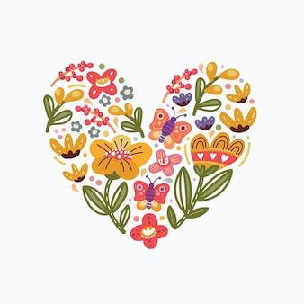 Formato de coração floral decorativo