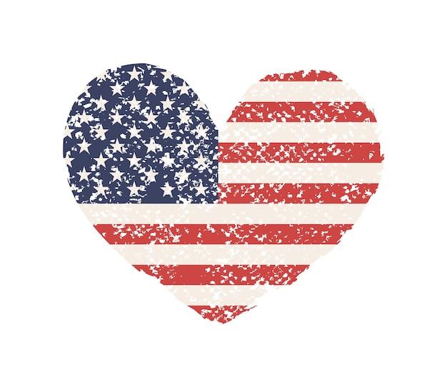 Formato de coração grunge com bandeira americana