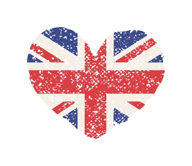 Formato de coração grunge com bandeira britânica