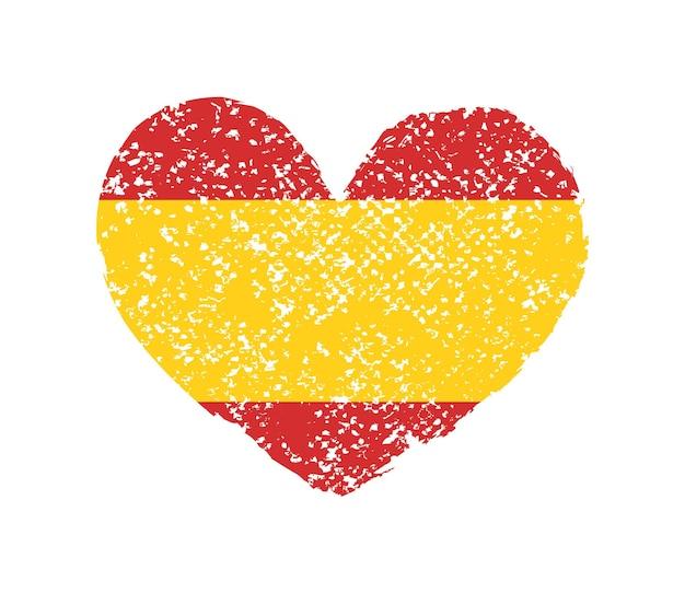 Formato de coração grunge com bandeira espanhola