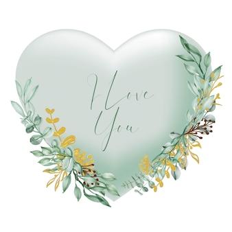 Formato de coração verde dos namorados, eu te amo, palavras com flores e folhas em aquarela