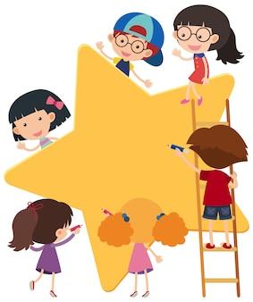 Formato de estrela de banner vazio com o personagem de desenho animado de muitas crianças