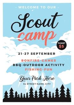 Formato de panfleto de acampamento de escoteiros.