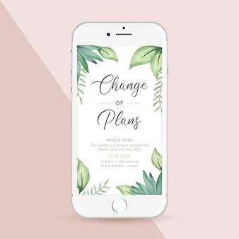 Formato de tela de smartphone adiado para anúncio de casamento