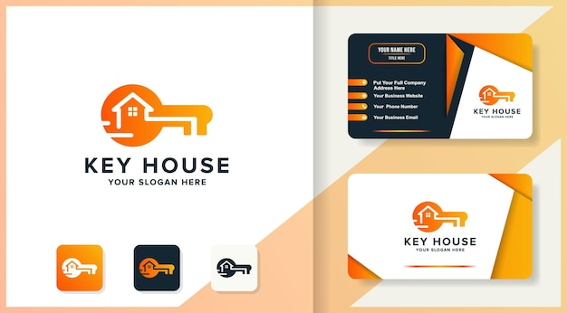 Formato do logotipo da tecnologia key house e design do cartão de visita